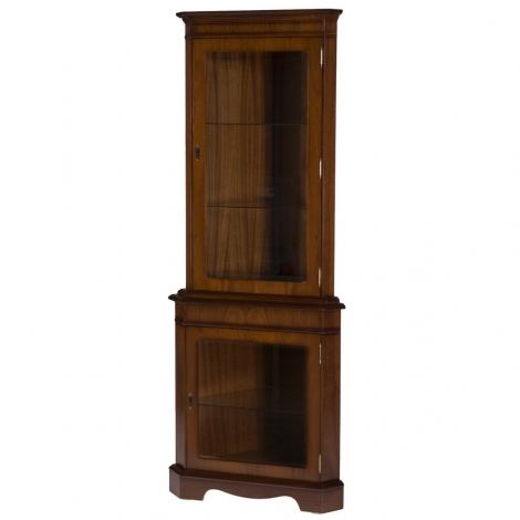Ashmore Antique Reproduction, Corner Display Cabinet, Double Glass Door