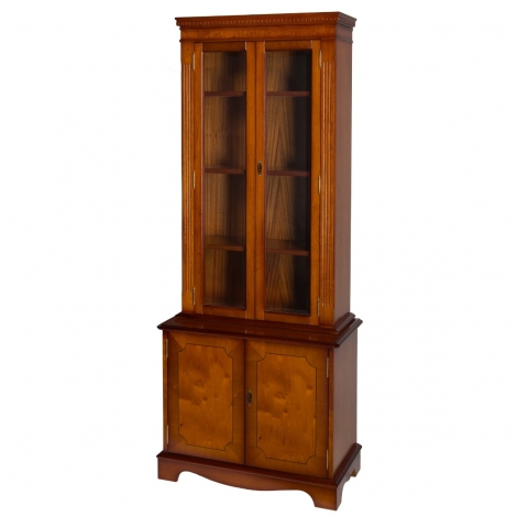 Ashmore Antique Reproduction, Tall Bookcase Cupboard With Glass Doors