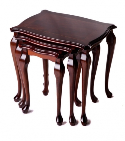 Ashmore Antique Reproduction, Queen Anne Polished Top Nest of Tables