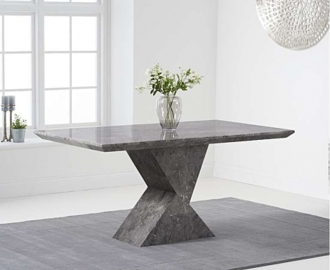 Aztec 160cm Grey Marble Dining Table