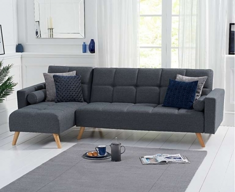 Abigail Sofa Bed Chaise in Grey Linen