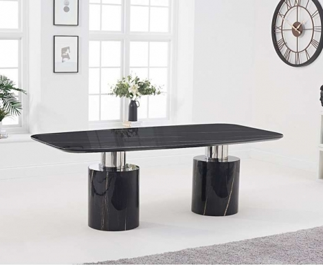 Adelaide 220cm Black Marble Dining Table
