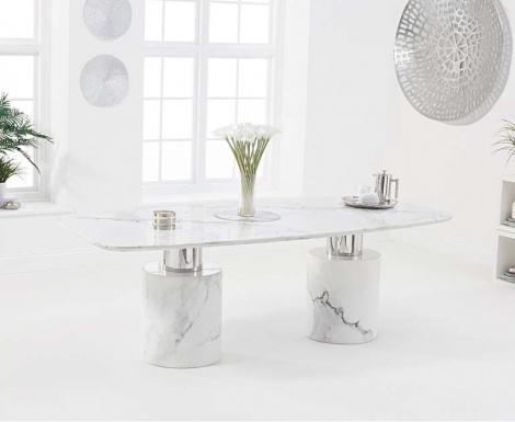 Adelaide 220cm White Marble Dining Table