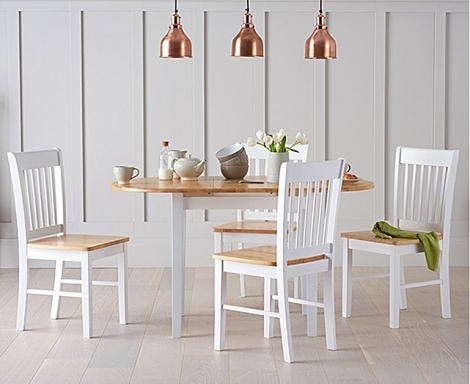 Alaska 107cm - 135cm Extending Dining Set Oak and White Painted