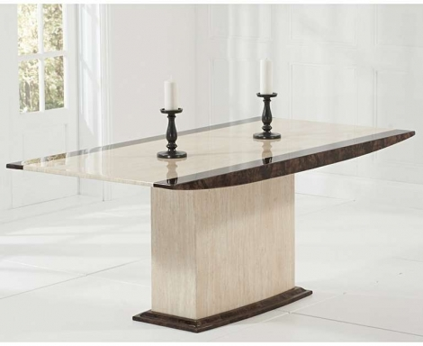 Assisi 180cm Cream & Brown Marble Dining Table