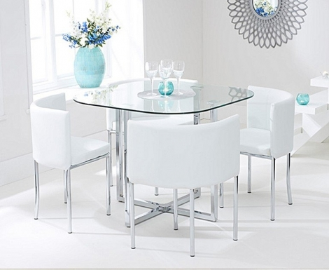 Stowaway Glass Dining Set with 4 White Chairs