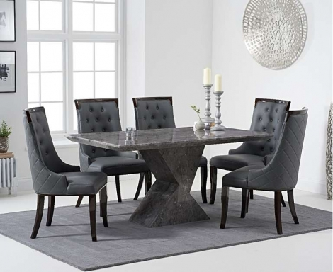 Aztec 160cm Grey Marble Dining Table With Aviva Chairs
