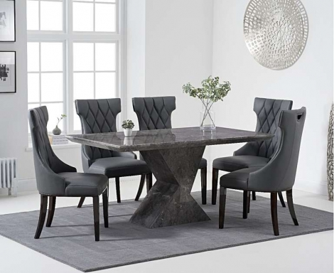 Aztec 160cm Grey Marble Dining Table With Fredo Chairs