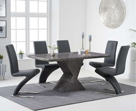 Aztec 160cm Grey Marble Dining Table With Hereford Z Chairs
