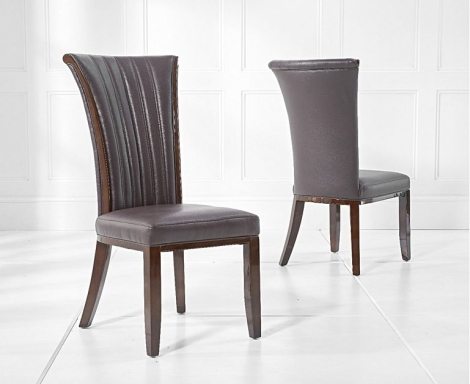 2x Almeria Brown Leather Dining Chairs (Pair)