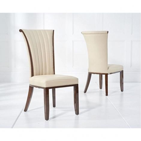 2x Almeria Cream Leather Dining Chair (Pair)