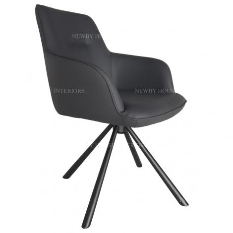 Amalia, Faux Leather, Grey Swivel Dining Chair, Matt Black Steel Spider Legs