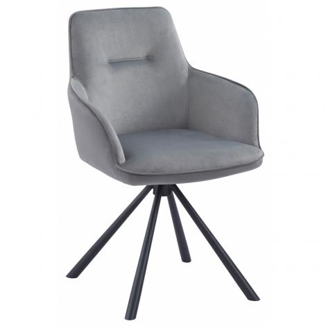 Amalia Light Grey French Velvet Swivel Dining Arm Chair With Matt Black Steel Spider Legs