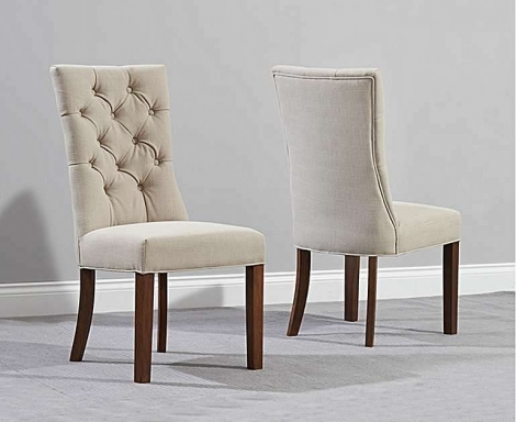 2x Alton, Beige, Fabric, Button Back Dining Chairs, Dark Leg (Pair)