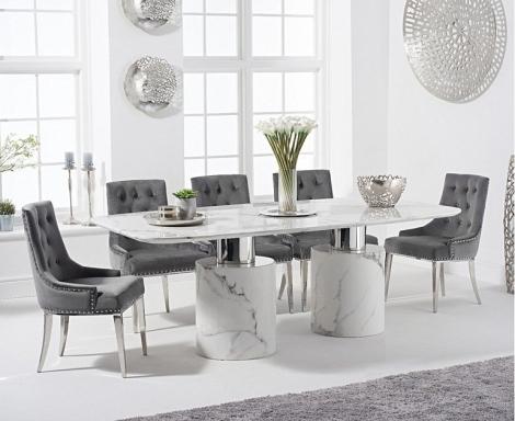 Adelaide 220cm White Marble Dining Table & Round Knocker Back Velvet Chairs