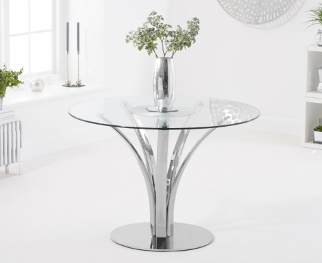 Aria 110cm Round Glass Dining Table