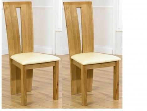 2x Arizona Light Oak Dining Chairs Cream Pad (Pair)