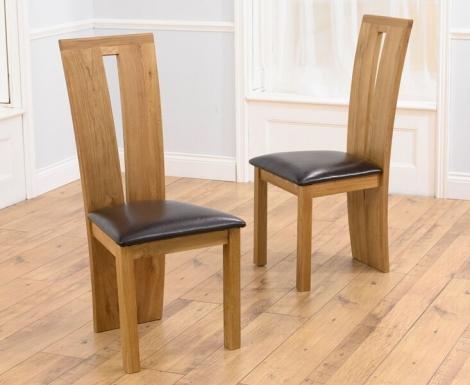 2x Arizona Light Oak Dining Chairs Brown (Pair)