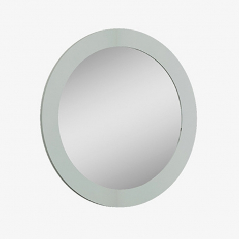 Arya / Lilly Round Wall Mirror in Light Grey High Gloss