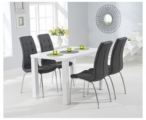 Ava 120cm White High Gloss Table & California Chairs