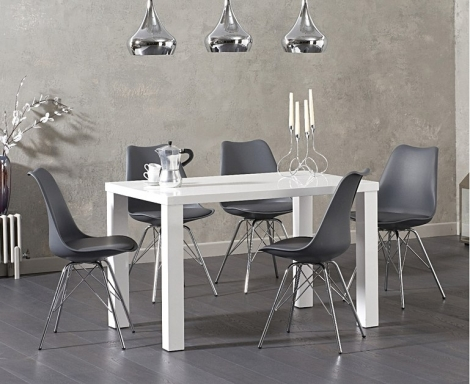 Ava 120cm White High Gloss Table & Calabasus Chairs