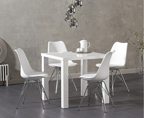 Ava 80cm White High Gloss Table & Calabasus Chairs