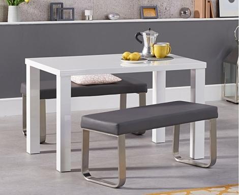 Ava 120cm White High Gloss Table & Ava Benches