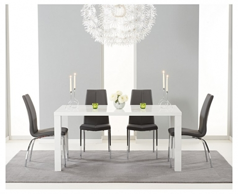 Ava 160cm White High Gloss Dining Table with Carsen Chairs