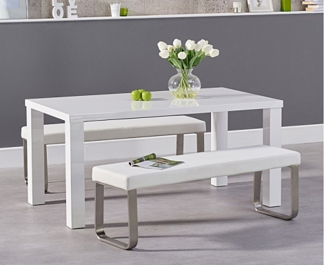 Ava 160cm White High Gloss Dining Table with Ava Benches