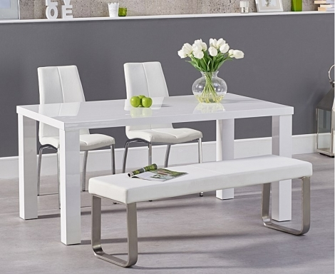 Ava 160cm White High Gloss Dining Table with Carsen Chairs and Ava White Bench