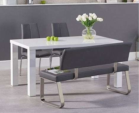 Ava 160cm White High Gloss Dining Table with Carson Chairs & Malibu Bench