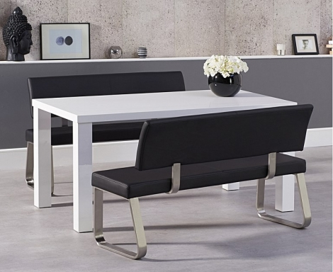 Ava 160cm White High Gloss Dining Table with Malibu Benches