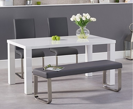Ava 160cm White High Gloss Dining Table with Malibu Chairs and Ava Bench