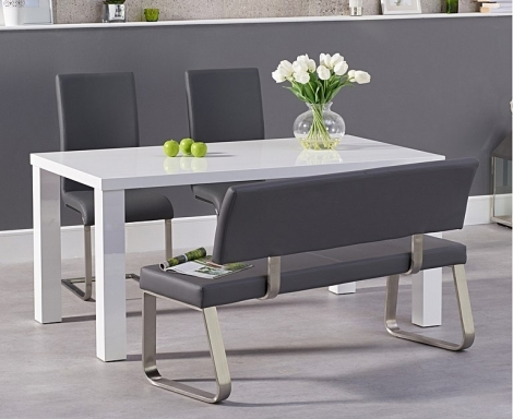 Ava 160cm White High Gloss Dining Table with Malibu Chairs and Malibu Bench