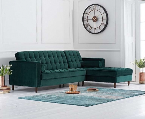 Anneliese Green Velvet Fabric Right Hand Facing Chaise Sofa