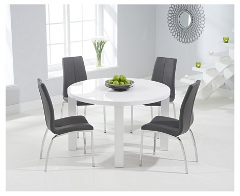 Ava 120cm White High Gloss Round Table with 4 Carsen Chairs