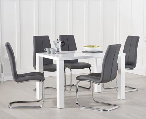 Ava 120cm White High Gloss Table & Carsen Chairs