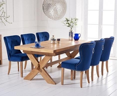 Avignon 200cm - 240cm Light Oak Extending Dining Table & Kalim Blue Velvet Chairs