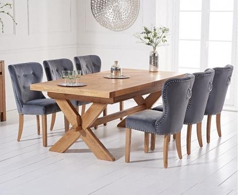 Avignon 200cm - 240cm Light Oak Extending Dining Table & Kalim Grey Velvet Chairs