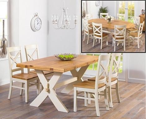 Avignon 165cm Oak & Cream All Sides Extending Dining Table & Cavanaugh Chairs