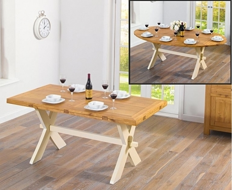 Avignon 165cm Oak & Cream All Sides Extending Dining Table