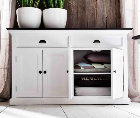 Nova Solo, Halifax Contrast, Pure White With Black Top, 4 Door Sideboard