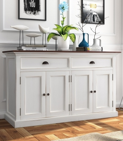 Nova Solo, Halifax Accent, Pure White Distress With Deep Brown Top, 4 Door Sideboard
