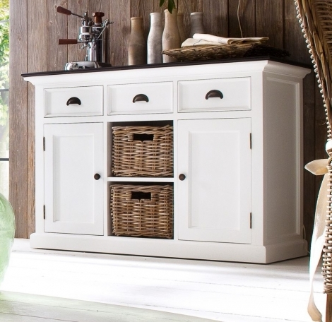 Nova Solo, Halifax Contrast, Pure White With Black Top 2 Basket Sideboard