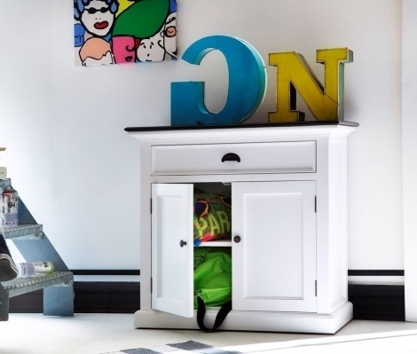 Nova Solo, Halifax Contrast, Pure White With Black Top Small Sideboard
