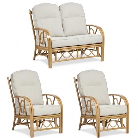 Desser, Bali Light Oak Cane 2 Seater Sofa & 2 Chairs