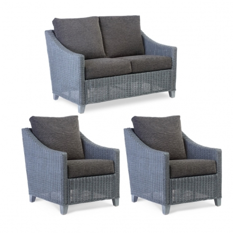 Desser, Dijon, Grey Frame, Cane 2 Seater Sofa & 2 Chairs