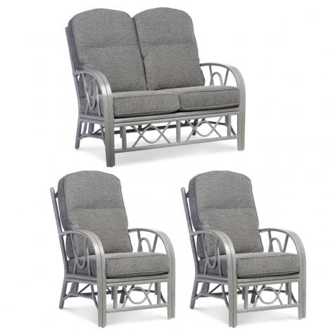 Desser, Bali Grey Wash Cane 2 Seater & 2 Armchairs