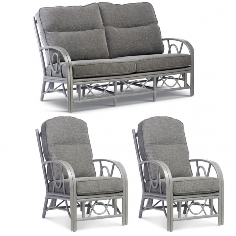 Desser, Bali Grey Wash Cane 3 Seater & 2 Armchairs