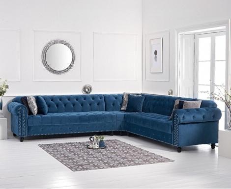 Barbican Blue Velvet Corner Sofa